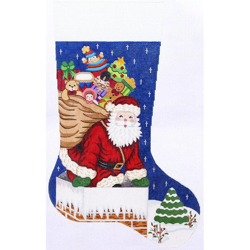 Santa in Chimney Stocking Canvas-Needlepoint Canvas-Alexa Needlepoint Designs-KC Needlepoint