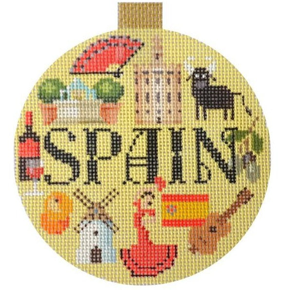 Spain Travel Round Needlepoint Canvas-Needlepoint Canvas-Kirk and Bradley-KC Needlepoint
