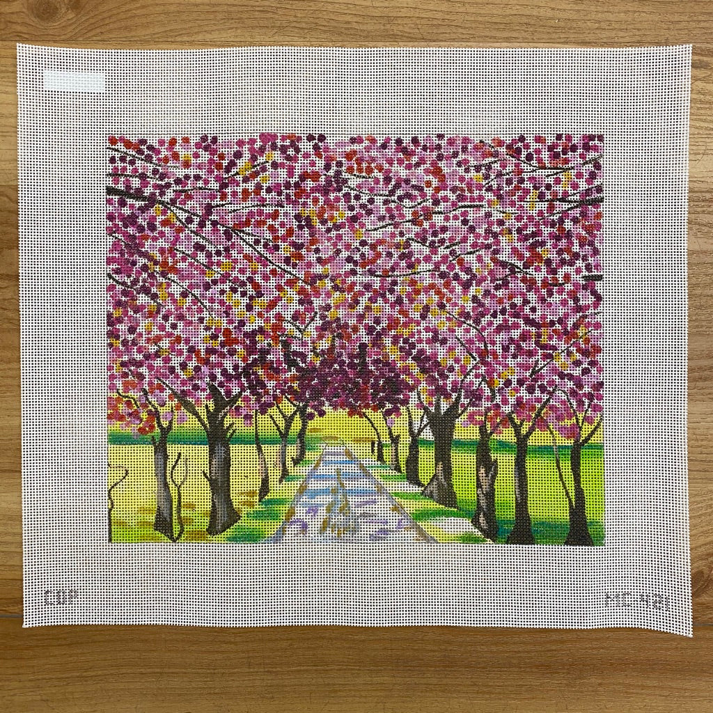 Blooming Tree Alley Canvas - KC Needlepoint