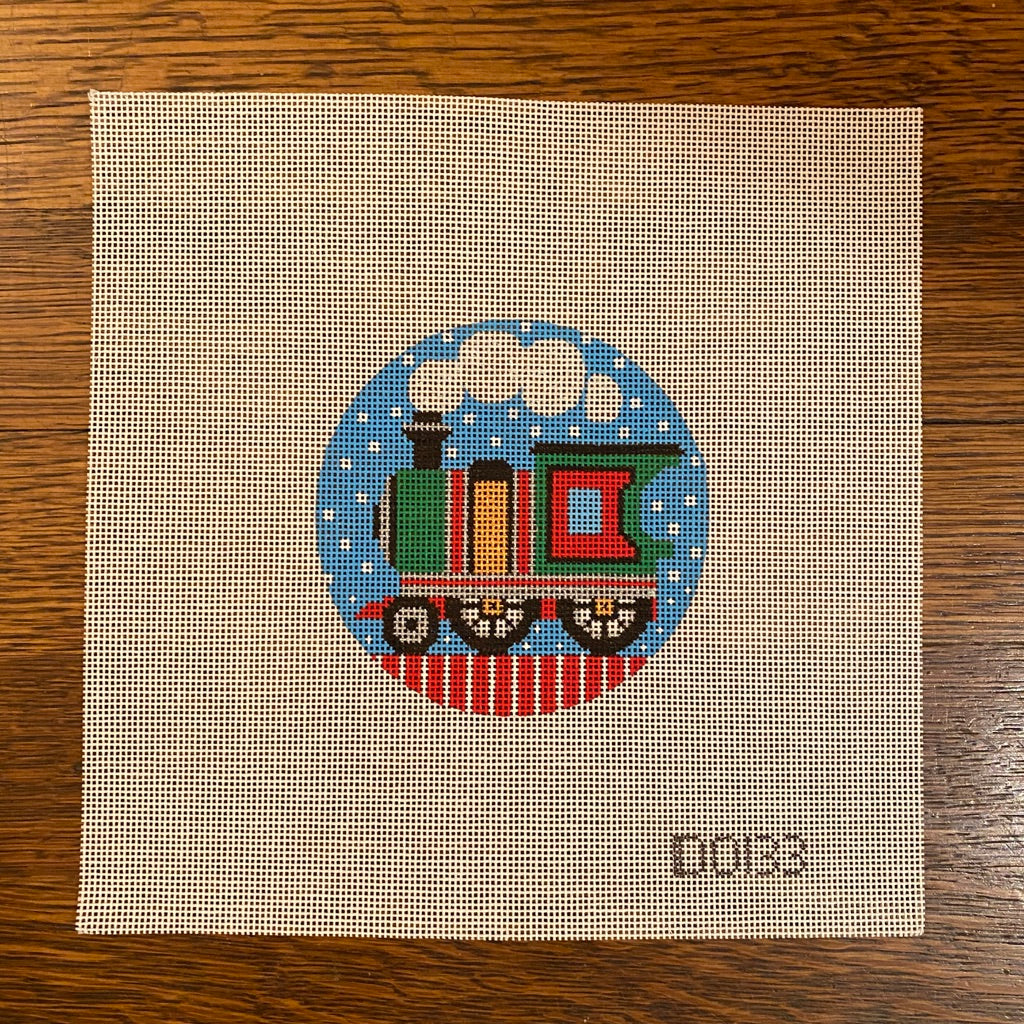 Train Engine Round Canvas - needlepoint