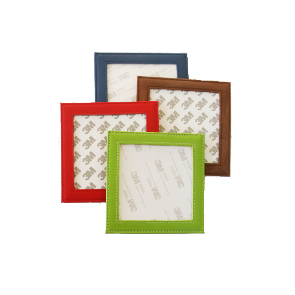 Set of 4 Leather Coasters - needlepoint