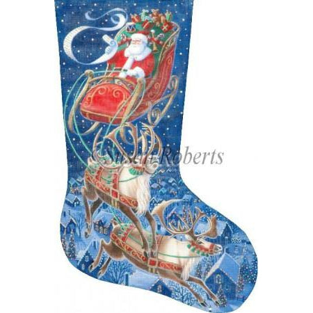 Santa Flying Through The Stars Stocking Canvas