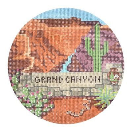 Grand Canyon Travel Round Needlepoint Canvas-Needlepoint Canvas-Burnett & Bradley-KC Needlepoint