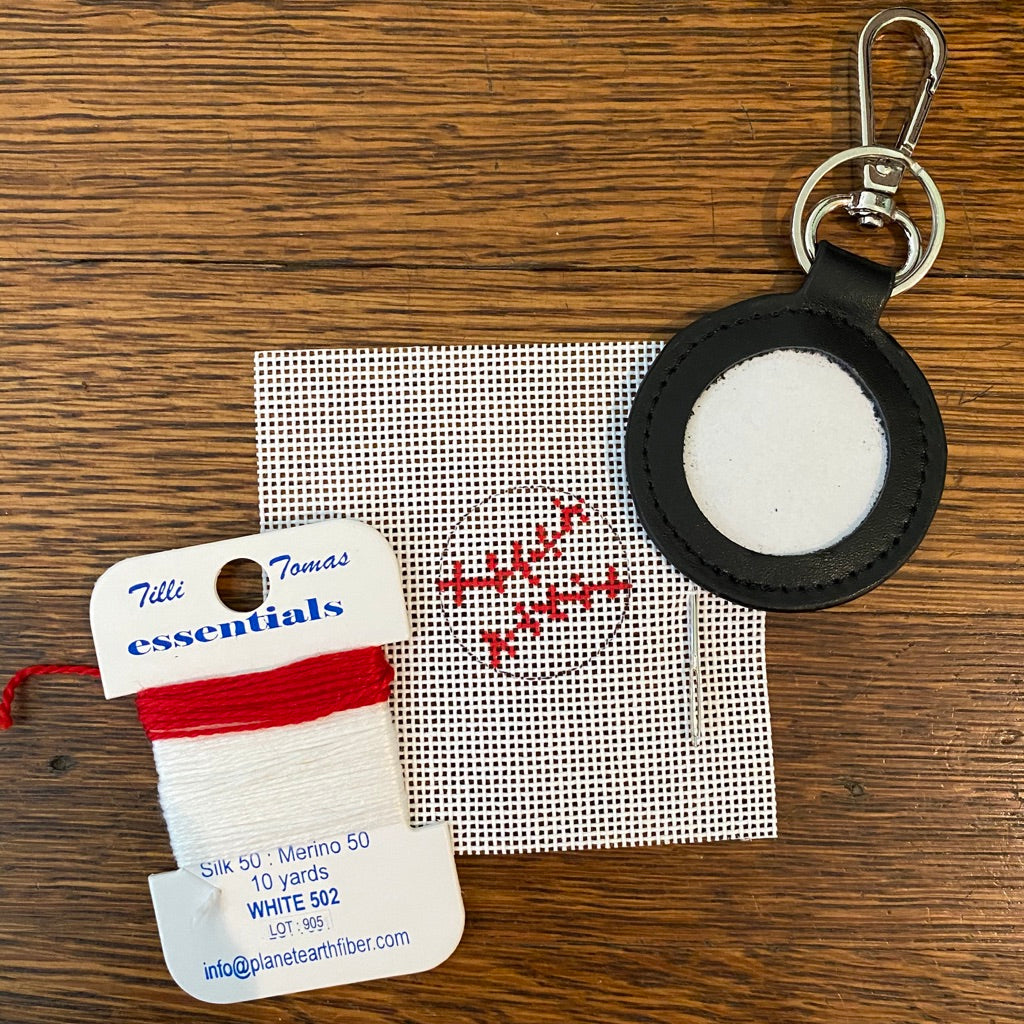 Baseball Key Fob Kit-Needlepoint Kit-KC Needlepoint