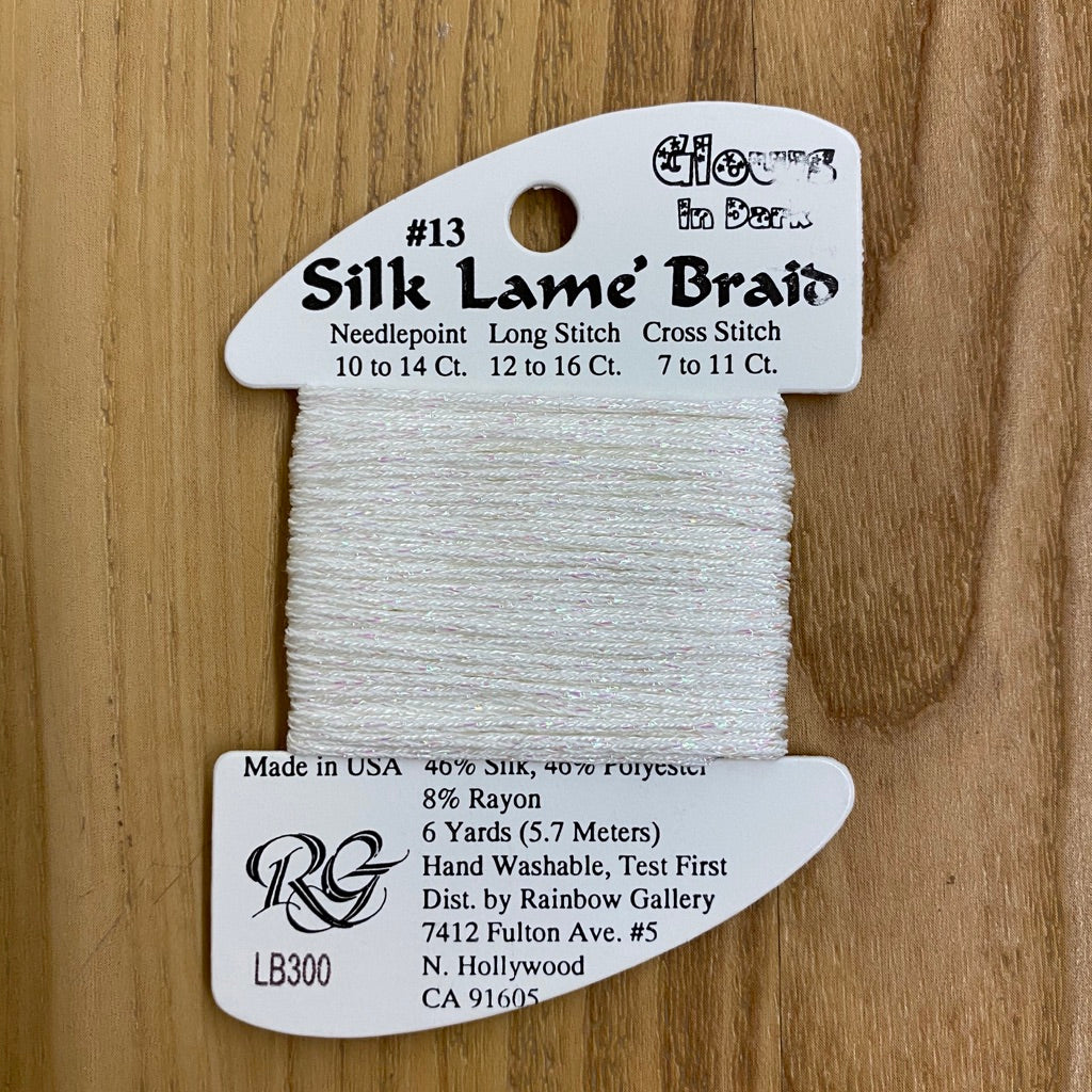 Silk Lamé Braid LB300 Glow in the Dark White - needlepoint