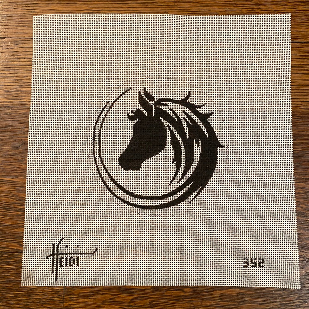 Horse Round Canvas - needlepoint