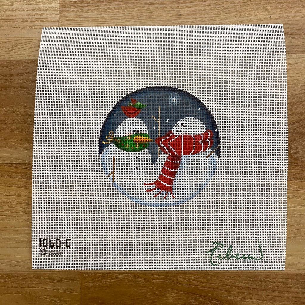 Snowman Mask Canvas - needlepoint