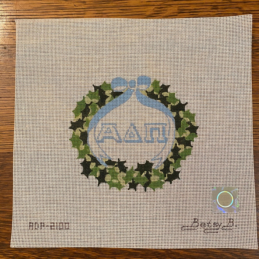Alpha Delta Pi Ivy Wreath Canvas - needlepoint