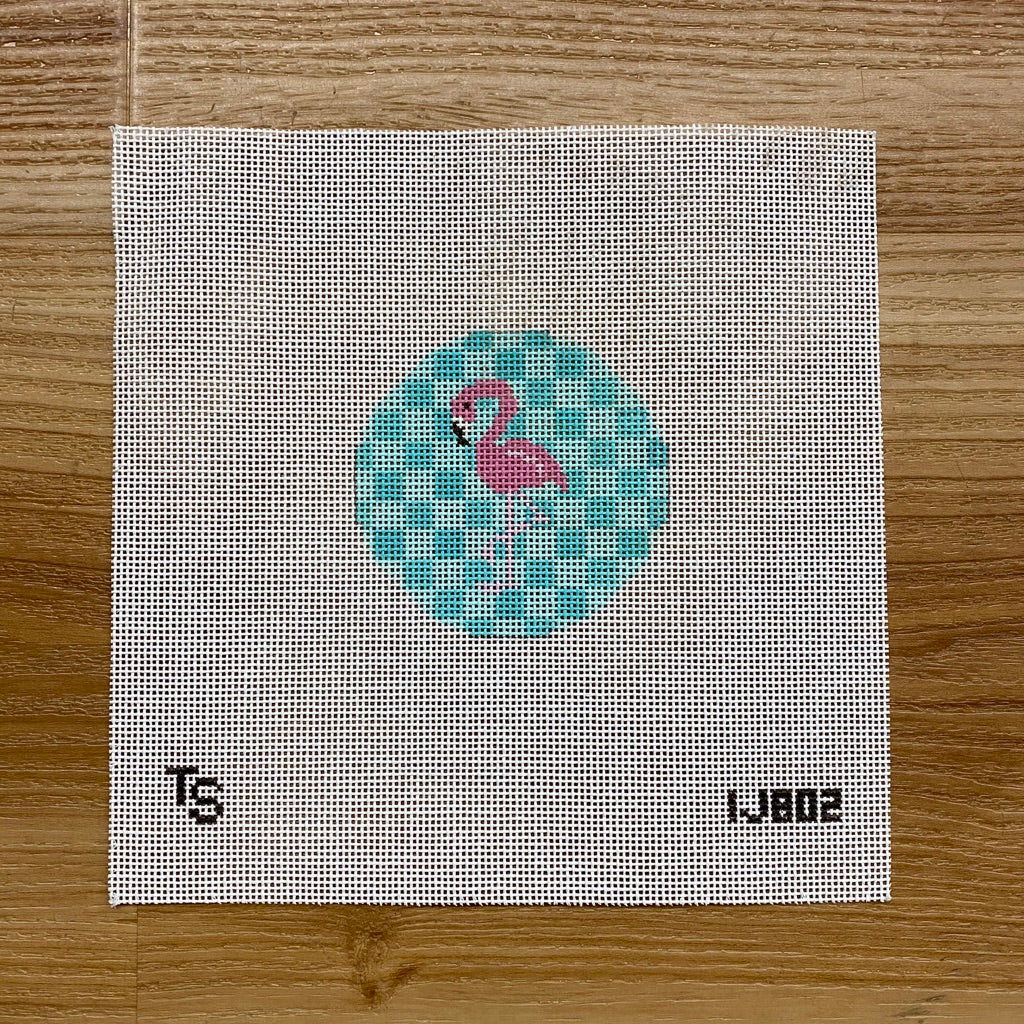 "Pink Flamingo 3"" Round - needlepoint"