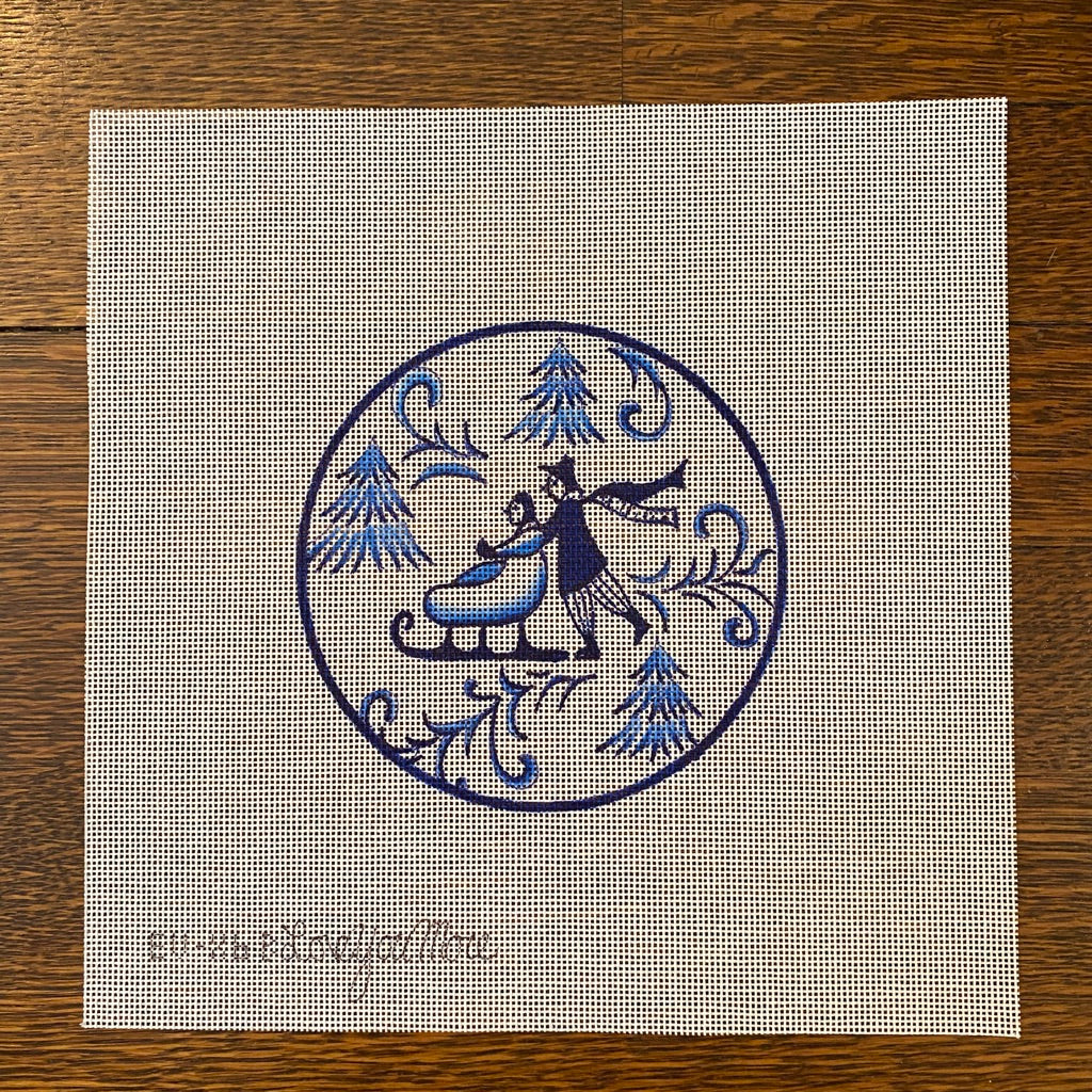 Toile Couple on Sled Blue Canvas