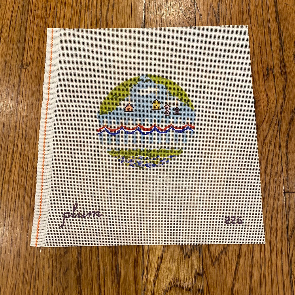 Bunting and Fence Round Canvas - needlepoint