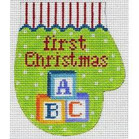 Blocks First Christmas Mitten Canvas-Needlepoint Canvas-The Meredith Collection-13 mesh-KC Needlepoint