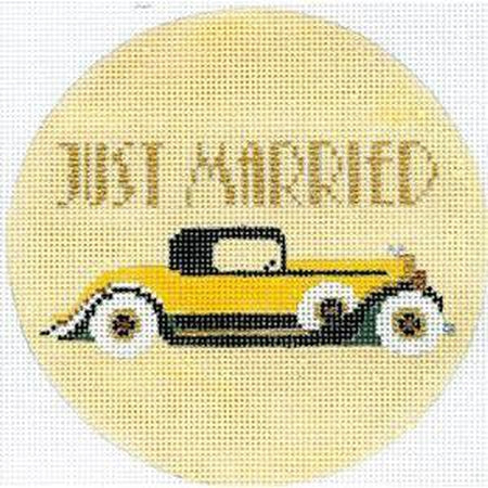 Just Married Art Deco Round Canvas
