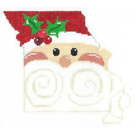 Santa Shape State of Missouri Canvas - KC Needlepoint
