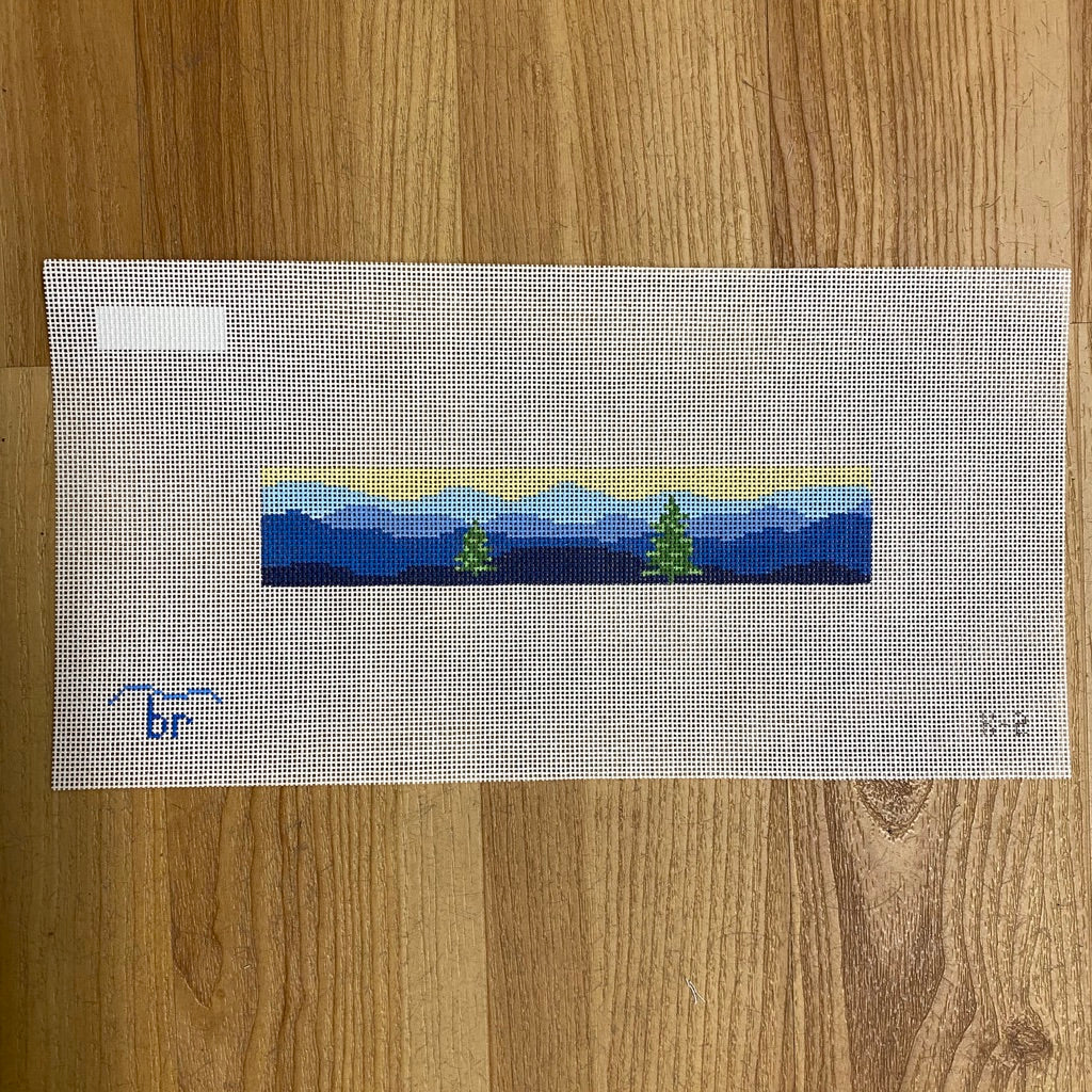 Blue Ridge Key Fob with Trees Canvas - needlepoint