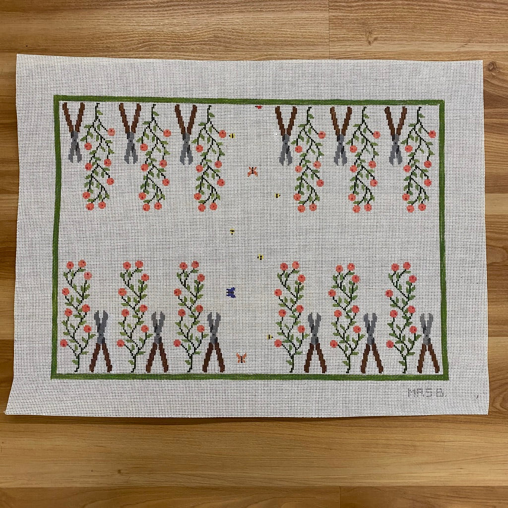 Gardening Backgammon Board Canvas - needlepoint