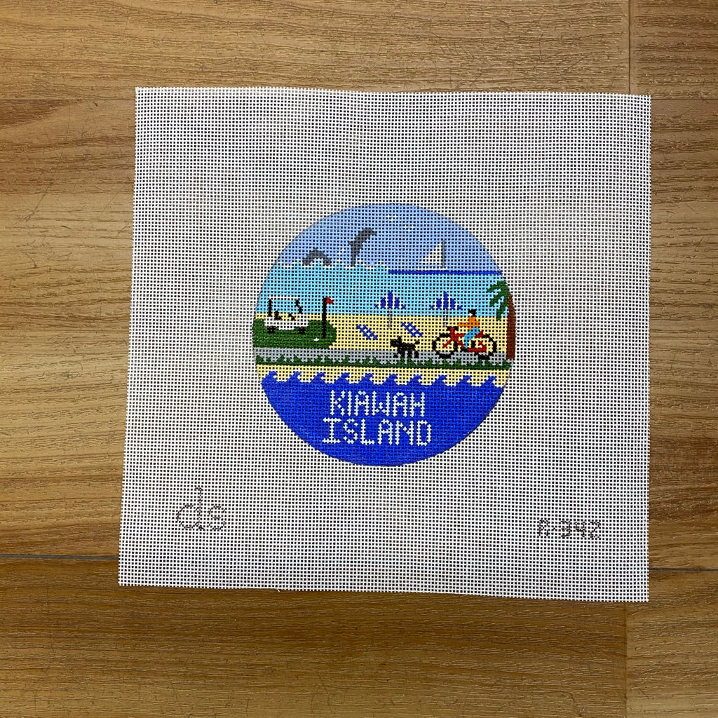 Kiawah Island Travel Round Needlepoint Canvas