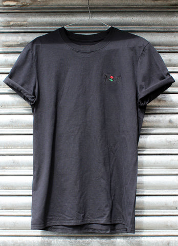 Fu*k it embroidered rose black tee (New)