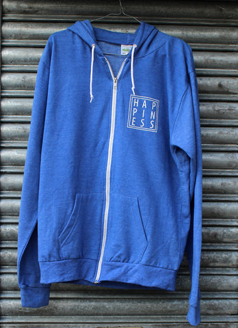 Happiness Heather Blue Zip Hoodie SALE
