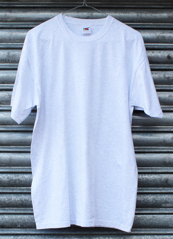 Heather light grey plain tee