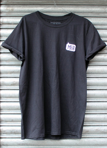 Meh embroidered black tee X NATCHO NEW