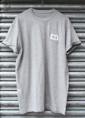 Meh embroidered grey tee X NATCHO NEW