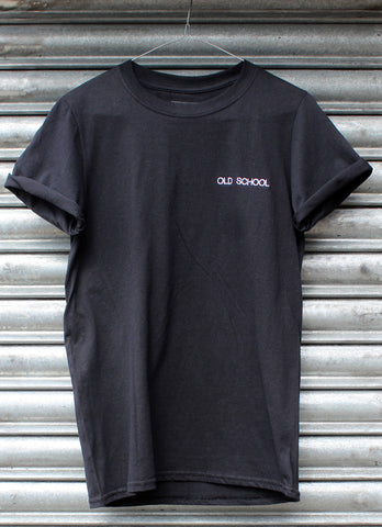 Old School Embroidered black Tee NEW