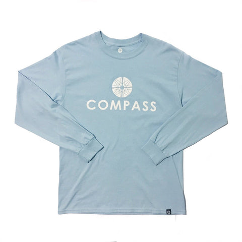 Compass Long sleeve T-shirt - Sky blue / White