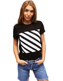 Black/White Diagonal Stripe Tee