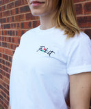 Fu*k it embroidered rose white tee