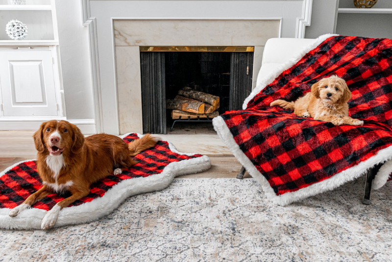 Buffalo Plaid Bed and Blanket set with Dogs
