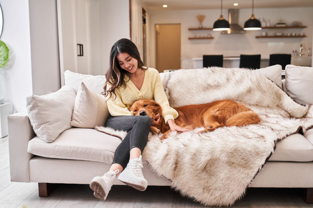 Woman and Dog on Paw.com Blanket