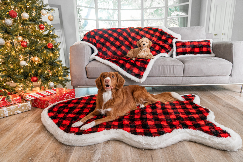 Matching Holiday Dog Bed, Blanket, Pillow
