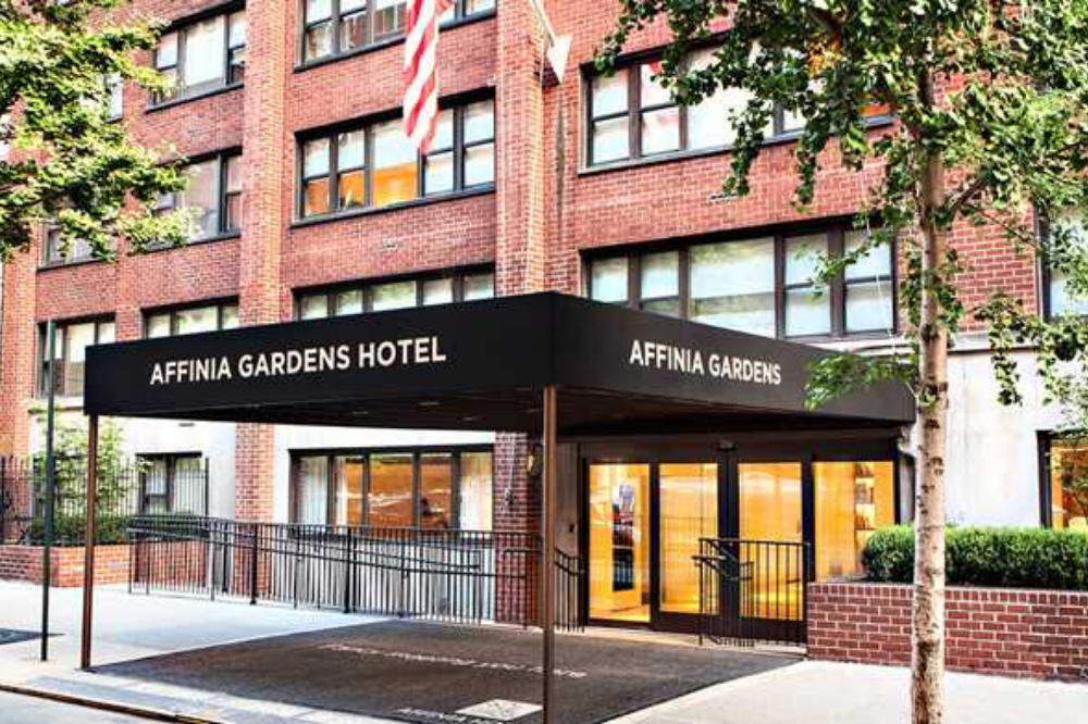he front of the Affina Gardens Hotel building in New York City.