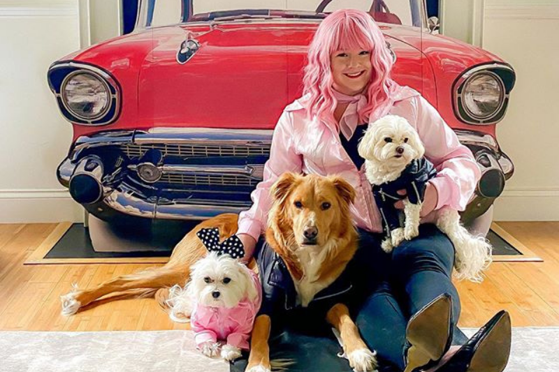 "Destiny and her dogs dressed as characters from ""Grease"""
