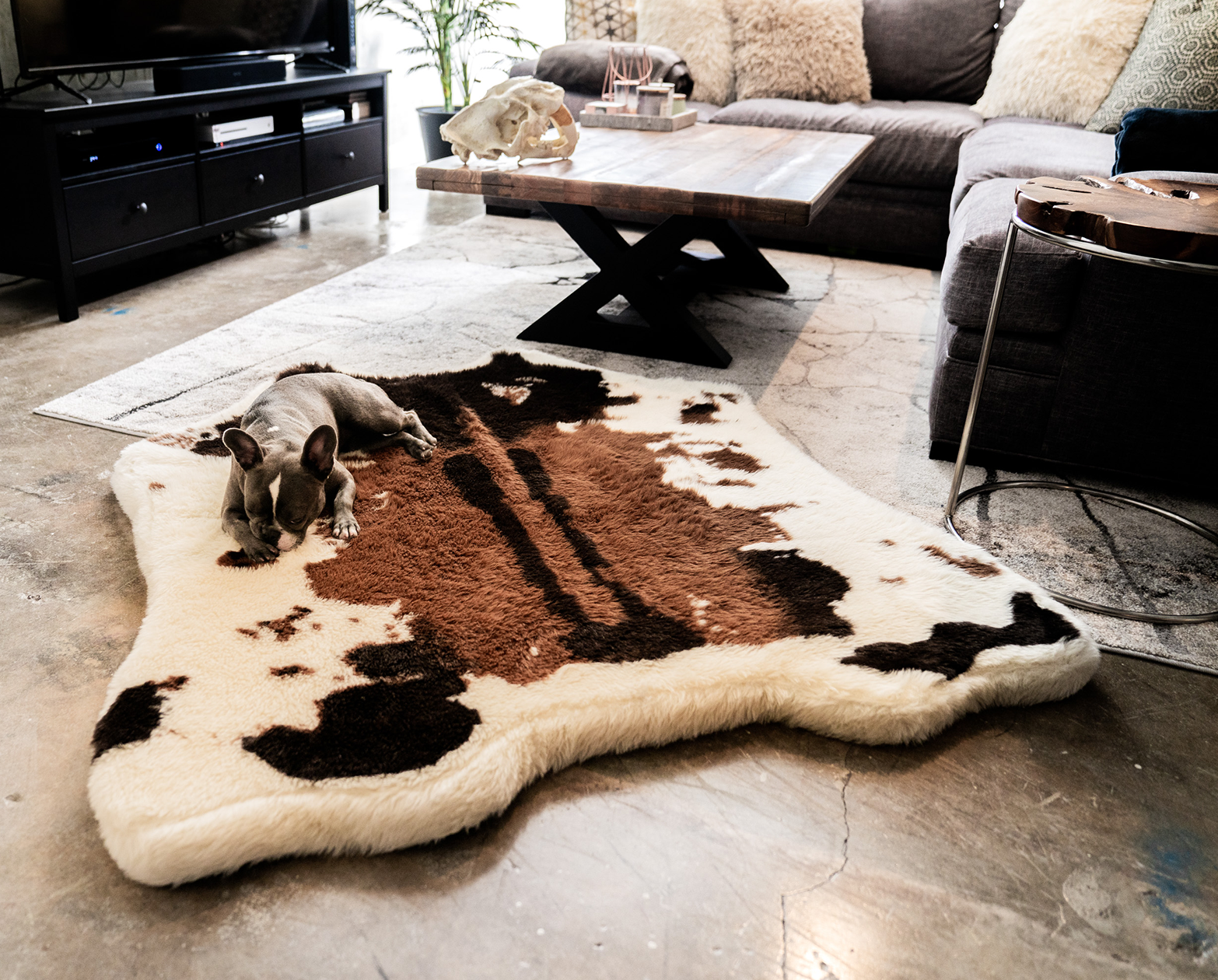 Extra Large Dog Bed Puprug Faux Cowhide Memory Foam Dog