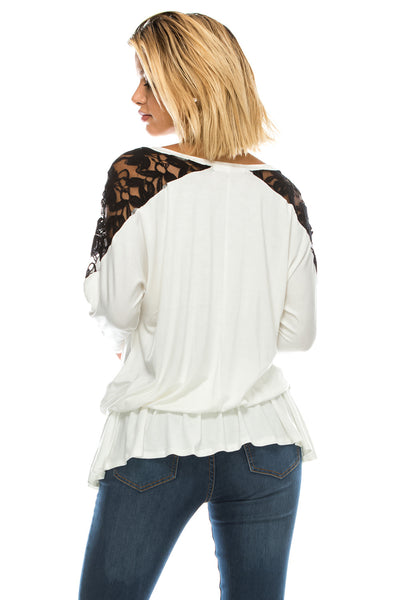 Black Lace Shoulder Flowy Blouse