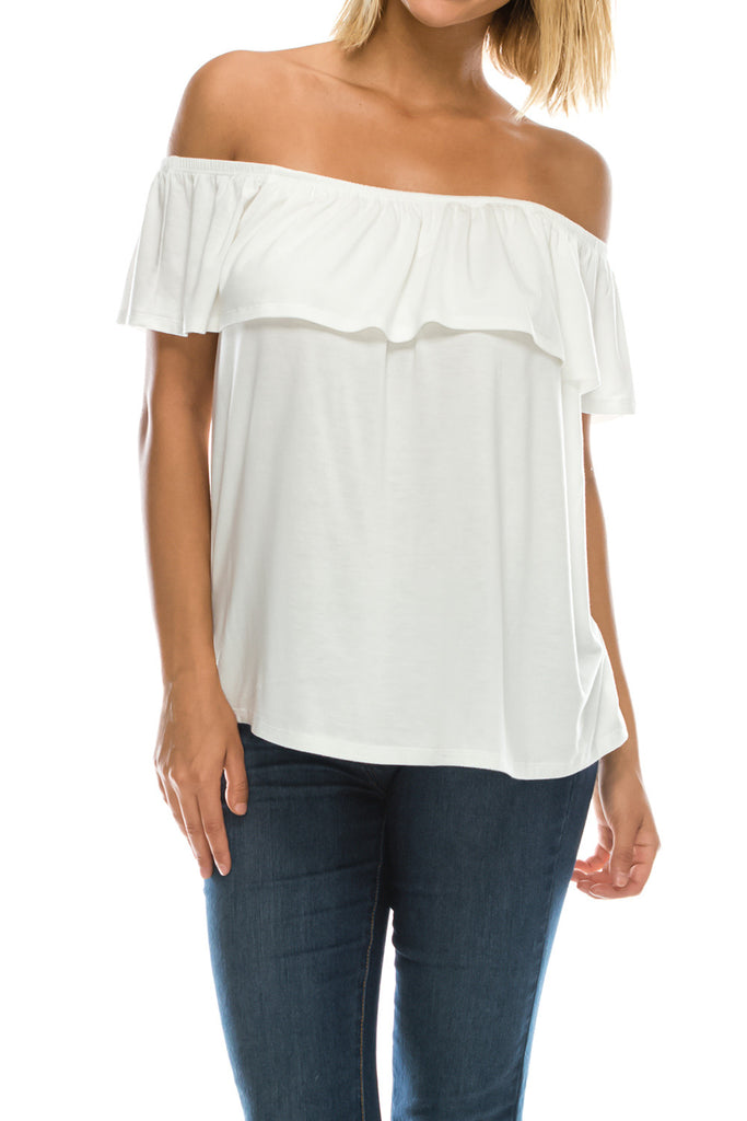 Ruffled On or Off Shoulder Flowy Blouse - Ivory