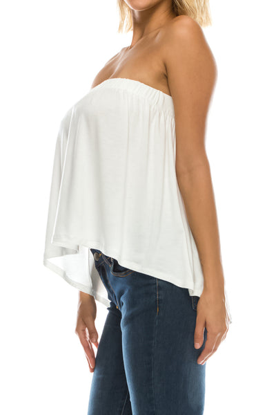 High Low Bottom Draping Bottom Tube Top - Ivory