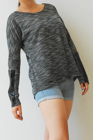 Black Leather Sleeve Light Sweater