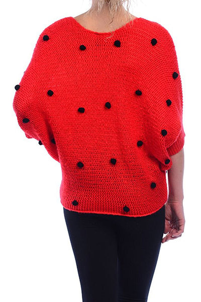 Pom Pom Dot Dolman Knit Sweater