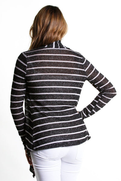 Rayon Knit Color Stripe Drape Cardigan