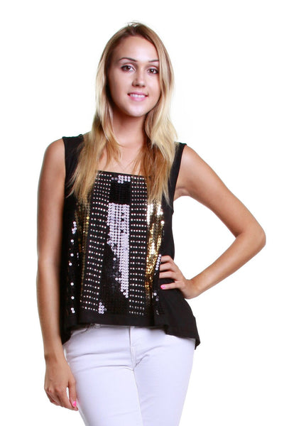 Sparkling Gold Sequin Sleeveless Top