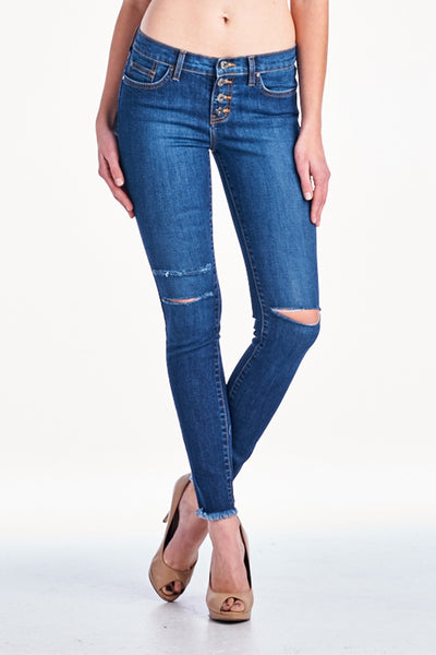 Angry Rabbit Button Fly Knee Slit Skinny Jeans