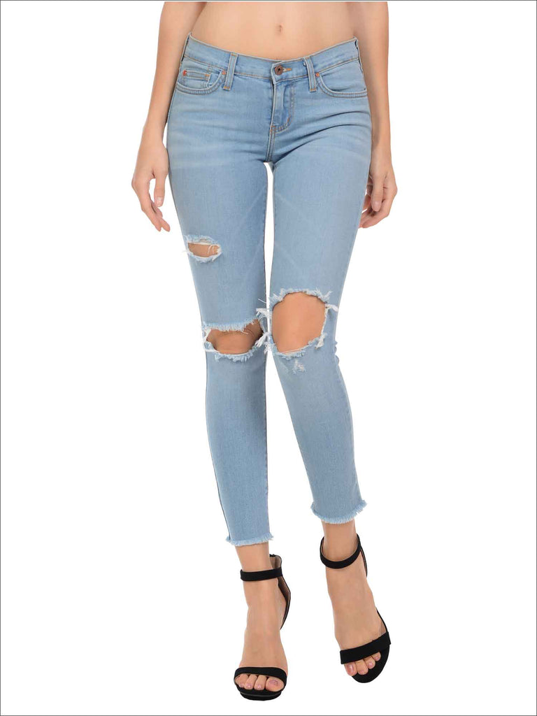 Angry Rabbit Knee Cut Out Cropped Premium Denim Jeans