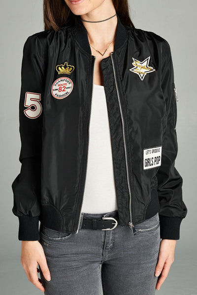 Pop Patch Light Bomber Jacket (3 Colors)