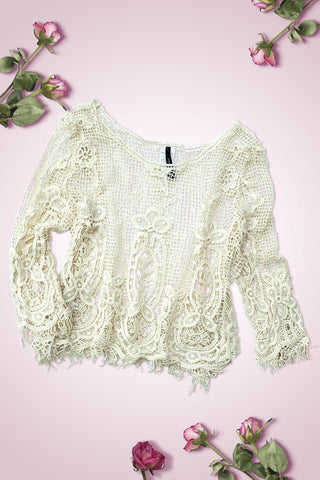 3/4 Sleeve Crochet Crop Top