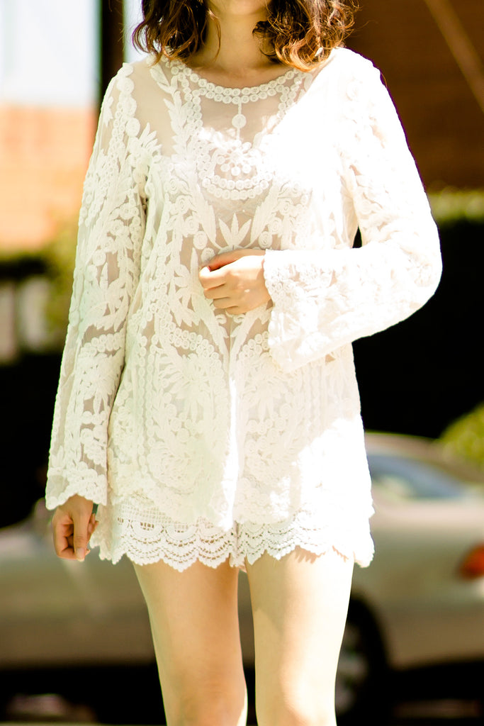 Romantic Lace Embroidery Mesh Blouse