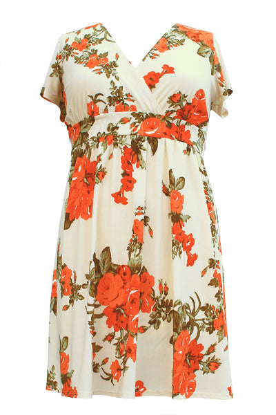 [Plus Size] Vintage Flower Printed Midi Flare Dress