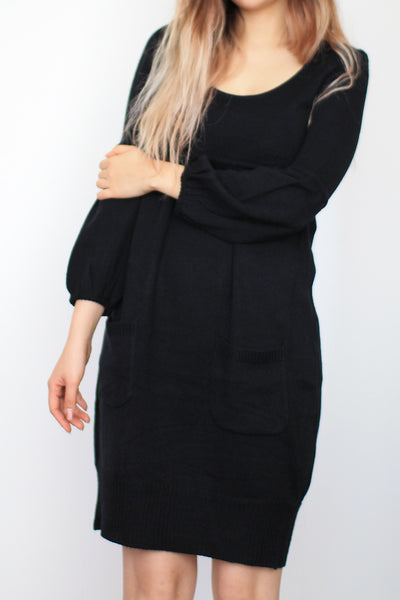 Balloon Sleeve Black Knit Sweater Dress with Front Pockets